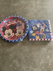 Set Of Disney Mickey And Minnie Mouse Usa Plates And Napkins - 4th Of July
