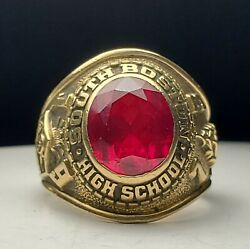 10k Yellow Gold South Boston High School Class Ring-1973-size 8.75-dieges Clust