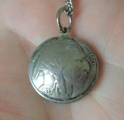 Antique Rare, 1920 And 1937, Indian Head 5 Cents Nickels Pendant Necklace.
