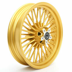 16 X 3.5 36 Spokes Gold Dual Disc Tubeless Front Wheel For Harley Softail Custom