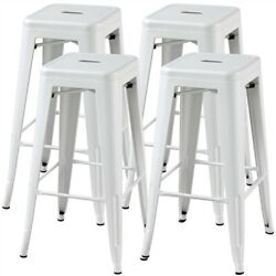 4 Pack Metal Bar Stools Stackable Backless Chairs Dining Room Chairs Patio Chair