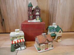 4 Piece Christmas Tea Light Village Toy Store Inn Coffee House Candy Store