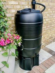 Black 210 Litre Water Butt Garden Rain Barrel Ward Strata With Or Without Stand