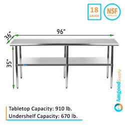 36 X 96 Stainless Steel Table   Nsf Metal Work Table For Kitchen Prep Utility