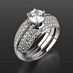 14 Kt White Gold Diamond Matching Bands Set Ring Earth Mined 6 Prongs 2 Ct