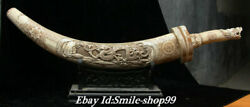 29.5 Old China Cattle Bone Carving Dynasty Dragon Pattern Weapon Knife Statue