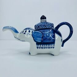 Vintage Ceramic Elephant Teapot Blue And White 10 In X 6in Euc