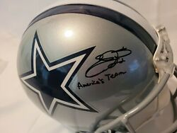 Emmitt Smith Full Size Authentic Helmet Autograph Inscribed With Americaand039s Team