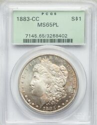 💥1883 Cc Morgan Silver Dollar Pcgs Ms 65 Pl Nicely Toned Ogh