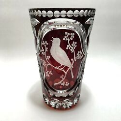 Exemplary Antique Bohemian Ruby Cut To Clear Hand Engraved Singing Bird Vase Nm