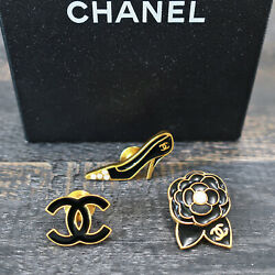 Gold Plated Cc Logos Icon Vintage Pin Brooch Badge Pins Set 154c Rise-on