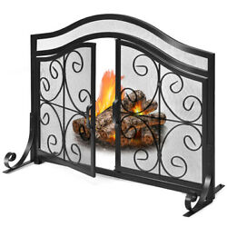 Fireplace Screen With Hinged Magnetic Two-doors Flat Guard Freestand Decor Black