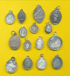 B501 15 Antique Sterling Silver Religious Charm Medal Pendant Catholic Medals