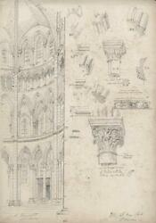 Thomas Henry Watson 1839-1913 Pencil Drawing Soissons France Architecture 1864