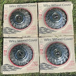 """Wire Wheel Covers Hub Caps4 Fit All 13 """" Wheels In Original Boxes 64 Spoke"""