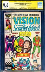 Signed Paul Bettany Elizabeth Olsen Vision And The Scarlet Witch 12 Cgc Ss 9.6