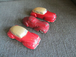 Vintage 1930s Sun Rubber Toys 3 1 Cord And 2 Toy Taxi Cabs 4.25l