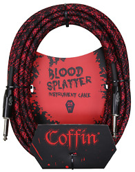 Coffin Bloodsplatter Guitar / Bass Instrument Cable 25ft Straight To Straight
