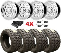 18 Polished Aluminun Wheels Rims Tires 33 12.50 18 Mt Package F-250 F-350 Fuel