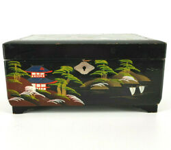 Vtg Lloyd's Japanese Music Large Trunk Jewelry Box Black Lacquer Hand Painted