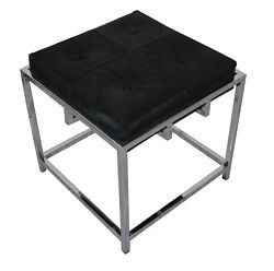 Indian Handmade Black Hairy Leather With Stainless Steel Base Stylish Bench