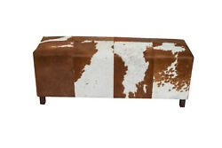Indian Handmade Designer Tan And White Hairy Leather With Wooden Legs Bench