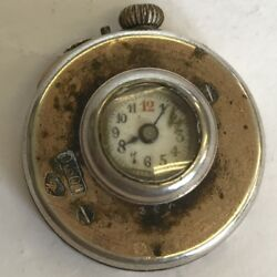 Antique French Solid 800 Silver Buttonhole Watch Not Working Rare Rooster Mark