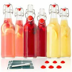 Classic Swing Top Glass Bottles -set Of 6, 16oz W/ Marker And Labels -clear Bottle