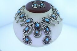 Native American Sterling Kingman Turquoise Squash Blossom Necklace/earrings Set