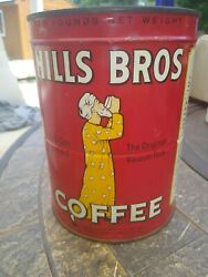 Old Vintage 1939 Hills Brothers Coffee Graphic 2 Pound Tin Full Unopened