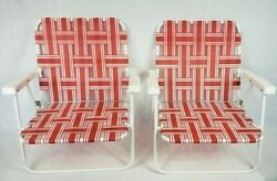 Vintage Set Of 2 Folding Aluminum Lawn Beach Chairs Webbed Red Light Weight