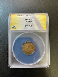 1864 Indian Head Cent Anacs Vf-35 - L On Ribbon - Penny - Certified Slab - 1c