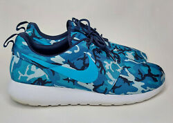 Nike Roshe Run Shoes Camo Print 655206-441 Sneakers Blue Navy Size 11.5