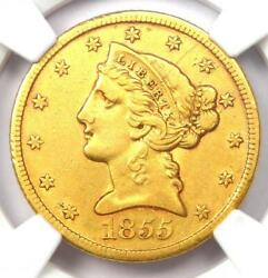 1855-s Liberty Gold Half Eagle 5 Coin - Certified Ngc Xf Details - Rare Date
