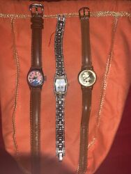 Lot Of 3 Vintage Disney Cinderella + Mickey Mouse Lady's Watches
