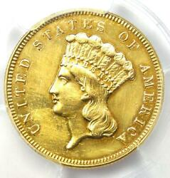 1870 Three Dollar Indian Gold Coin 3 - Certified Pcgs Au Details - Rare Date