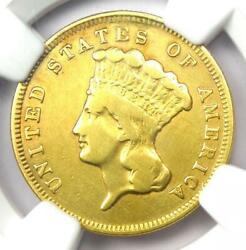 1857-s Indian Three Dollar Gold Coin 3 - Ngc Vf Details - Rare S Mint Coin