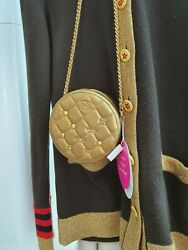 19a Metallic Lambskin Quilted Egyptian Amulet Charm Round Clutch Bag Gold