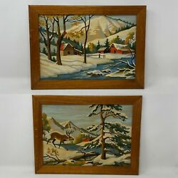Pair Vintage Paint By Number Deer Mountains Winter Pictures 16andrdquo X 12andrdquo Framed