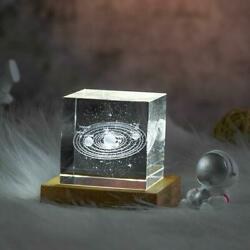 3d Engraved Crystal Cube Of Solar System Decorative Planets Glass Cube Best Gift