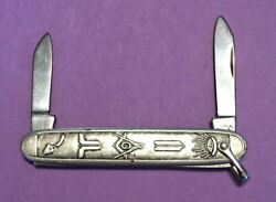 Vintage Colonial Brand- Masonic, Two Blade Silver Plate Pin-knife With Bail
