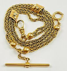 Antique Solid 14k Yellow Gold Watch Chain T Bar Necklace Pearl Sliders 22.5 Gram