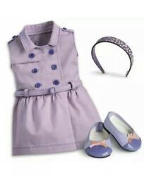 """American Girl 18"""" Ag Doll Travel In Style Outfit Purple Dress Shoes Headband New"""