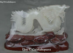 16 Pure Hand Natural White Jade Carved Feng Shui Guardian Dragon Loong Statue