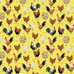 FARMERS MARKET BY WINDHAM FARM LIFE COUNTRY CHICKENS EGGS ON YELLOW FABRIC HY