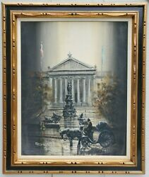 Lawrence Monier Large Oil Painting Horse Drawn Carriage Philadelphia Streetscape