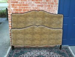 French Antique Oak Louis Xv Upholstered Animal Print Full Size Bed With Rails