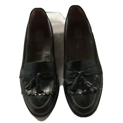 Alfani Loafers Tassel Black Leather Dress Men Shoes 12d Made In Italy Style 3256