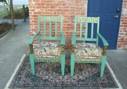 Hollywood Regency Upholstered And Painted Green 2 Armchairs