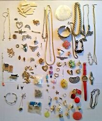 Mix Lot Of Antique, Vintage To Now Jewelry For Repair Parts Rhinestones